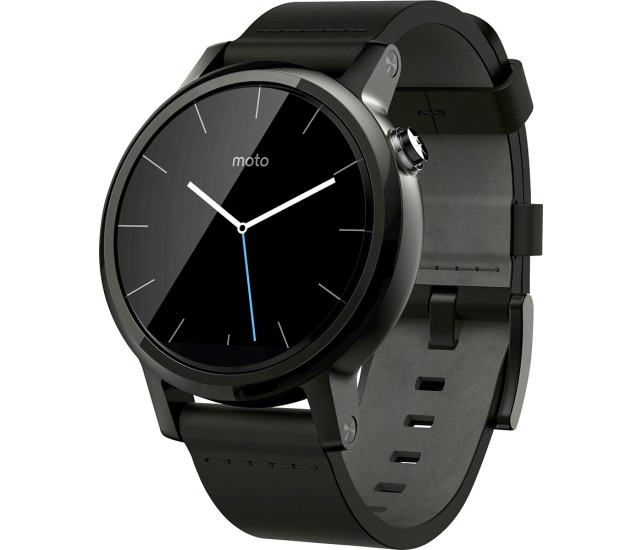 Moto 360 (2nd Gen) Stainless Steel – black leather, 42mm