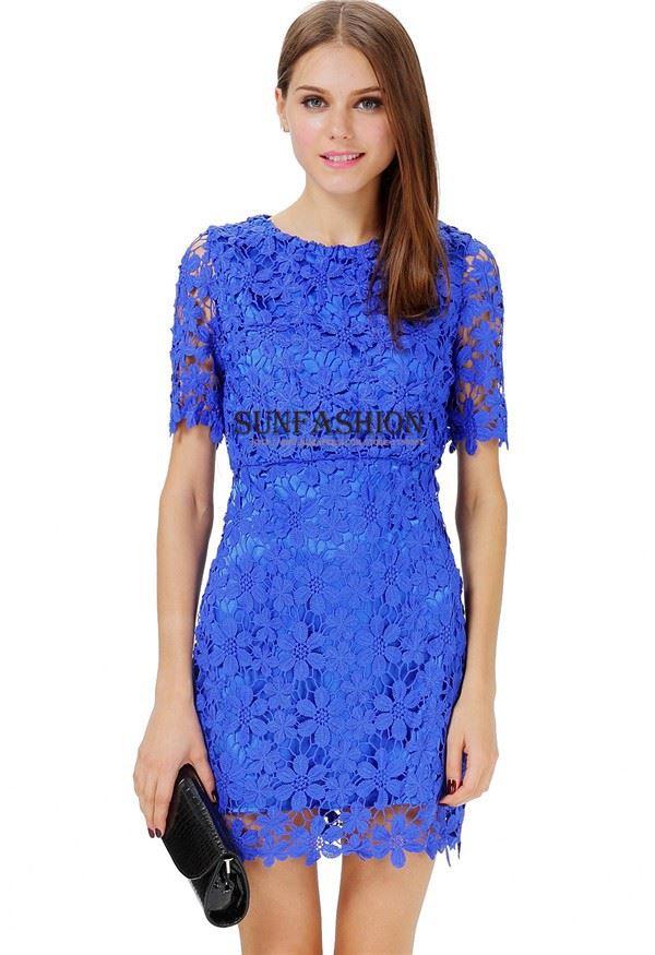 Picture of Summer Women Blue Short Sleeve