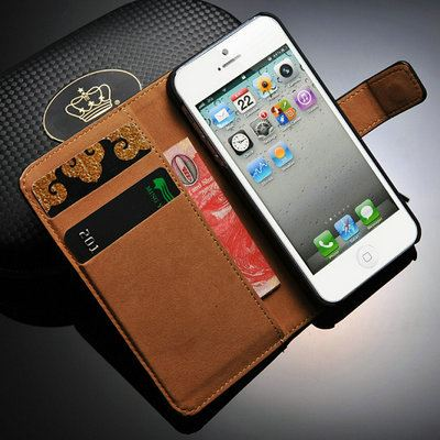 Picture of Genuine Leather Wallet With Stand Case for iPhone 5 5S Phone Bag with Card Holder Flip Cover