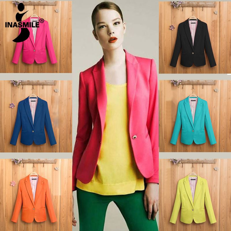 Picture of women coat jacket one button basic jacket suit blazers overcoat Foldable outerwear coats jackets